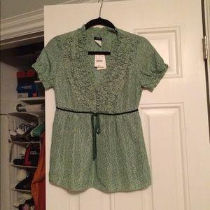 J CREW Green silk ruffled top size 0
